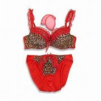 Quality Bra and Panty Set, Made Of Chiffon with Lace and Leopard Stripe Print wholesale
