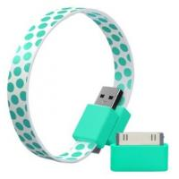 China Flat Micro USB Charging Data Cable Green Wristband For Iphone 4S / 5S / 5C on sale