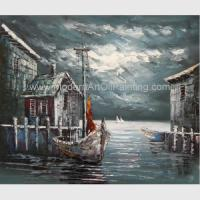 Quality Abstract Houses Boat Dock Canvas Wall Art Paintings For Living Room wholesale