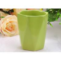 Quality Glazed Ceramic Hexagon green candle holders , Comfortable to Use wholesale