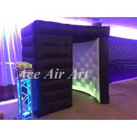 Quality portable black kiosk booth tent with led,inflatable photo booth enclosure with red entrance curtains for events wholesale