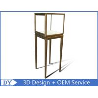 Quality Manufacturer oem top grade fully assemble  brush stainless steel glass pedestal display stand with lights wholesale