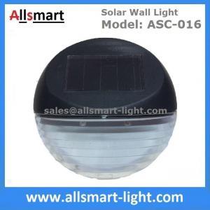 2 LED Round Solar Fence Sensor Light Wall Mount Solar Landscaping Wall Lamp Solar Powered Security Lighting
