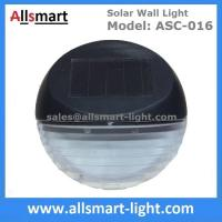 China 2 LED Round Solar Fence Sensor Light Wall Mount Solar Landscaping Wall Lamp Solar Powered Security Lighting on sale