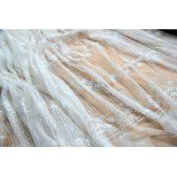 Embroidery Floral White Tulle Lace Fabric For Dress Clothing / Scarf / Curtain