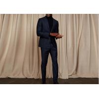 Quality Tailored Blue Pinstripe 3 Piece Suit Woven Jacquard Fabric Fit Spring / Autumn wholesale