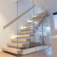 China Home prefab wood stair tread caps floating stairs railing on sale