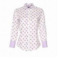 Quality Ladies printed cotton blouse/casual blouse, classic fit, long sleeves, pointed collar wholesale