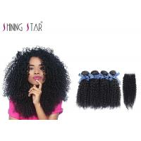 Quality 100 Virgin Curly Unprocessed Hair Bundles With Lace Closure In Natural Black wholesale