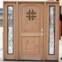 Cheap Solid knotty alder exterior door with side light, frame, speak-easy door and for sale