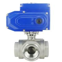 China Ss Stainless Steel Or Customize Material Electric Actuator 3 Way Ball Valve on sale
