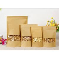 Dried Food Brown Kraft Paper Bags Food Grade Stand Up With Hole Handle