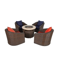 Buy cheap Patio Furniture Cushioned PE Rattan Bistro Chairs Set 4 Pieces 1 Table from wholesalers