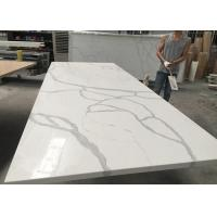 Quality Gray And White Quartz Tile Countertop Kitchen Cabinet Top Customised Size wholesale