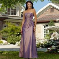 Quality Bridesmaid Dress/Strapless A-line Taffeta Gown, Asymmetrical Ruched Bodice, Lace-up Back wholesale