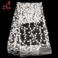China 100% Polyester Embroidered Lace Fabric Bussy Floral Lace For Wedding Dress With Swiss Net on sale