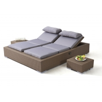 Buy cheap Pool Side Rattan Height Adjustable Outdoor Sunbed Customized Color from wholesalers