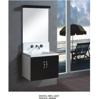 Quality Floating wall cabinet acrylic - resin integrated sink basin , black bathroom wall cabinet NON Drawers wholesale