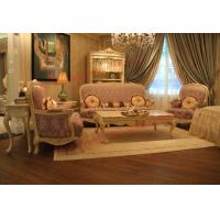 Quality Parquetry and Golden Decortation in Wooden Carving Frame with Fabric Upholstery Sofa wholesale