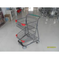 Quality Two Layer Basket Wire 4 Wheel Shopping Trolley / Cart With Color Poweder Coating wholesale