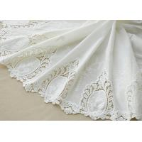 China Cotton White Crochet Lace Fabric / Embroidered Lace Fabric For Home Textile 130cm on sale