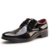China Business Patent Leather Mens Shoes , Brown Mens Dress Shoes With Golden Pattern on sale