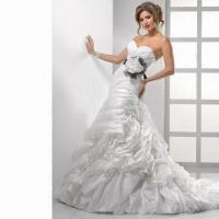 Quality Organza Mermaid Sweetheart Bridal Dress with Beaded Lace Applique Along Bodice wholesale