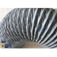 Quality HVAC Flexible Air Duct PVC Coated Fiberglass Fabric Grey 200MM Hose Waterproof wholesale