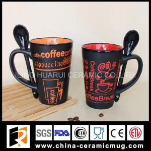 Quality 14OZ ceramic coffee mug with spoon and transfer printing wholesale