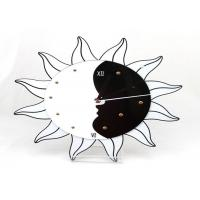 Quality Battery Operated Plastic Gear Wall Clocks Black And White , Sun Shape wholesale