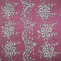 Quality Lace Fabric, White Cotton Threads Embroideries on White Tulle wholesale