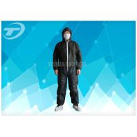 Quality Black Disposable Coveralls Suit Waterproof With Knitted Cuff wholesale