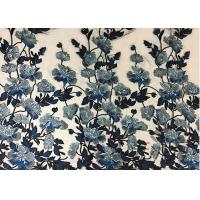 Quality Bule Floral Embroidered Polyester Net Lace Fabric For Wedding Gown Dresses wholesale