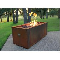 China Rectangular Shape Corten Steel Fire Pit For Patio Heating Weathering Resistant on sale