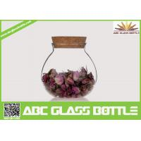 Cheap High quality fat clear glass storage jar with cork for sale