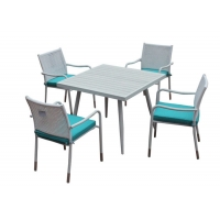 China Soft Padded Cushions PE Wicker Patio Table And Chair Set on sale