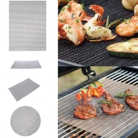 China Metal Round Hole Barbecue Grill Grill Net Barbecue Tool Non-Stick PTFE Barbecue Mat on sale
