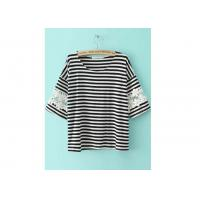 Quality Blouses Casual Round Neck Shirt Half Sleeve Striped Lace Loose wholesale