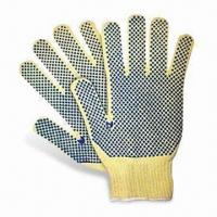 Quality Kevlar Safety Gloves with Both Sides PVC Dots on Palm with Cut-resistant, Available in Various Sizes wholesale