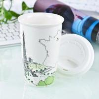 Quality Double Wall Porcelain travel Mug with Silicone Lid wholesale