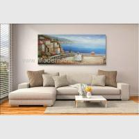Quality Handmade Framed Mediterranean Landscape Paintings On Canvas Italy Cafe Senery wholesale
