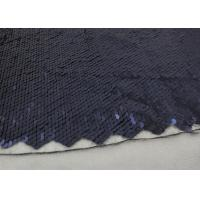 Quality Navy Sequin Mesh Fabric , Embroidered Lace Fabric By The Yard For Evening Dresses wholesale