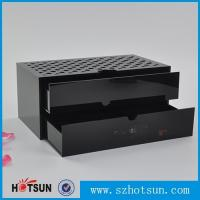 Quality Custom made acrylic storage box cost-effective black acrylic box with two drawer wholesale
