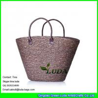 China LUDA brown handbags fashoin women straw tote  big straw beach bags on sale