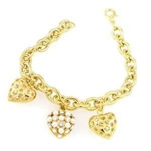 Quality OEM Stylish wedding bracelet, matt finished non corrosive Rhinestone heart gold chain bracelets for women wholesale