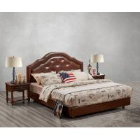 Quality Leather / Fabric Upholstered Headboard Bed for Hotel Bedroom interior Furniture with Wooden nighstand in Cheap price wholesale