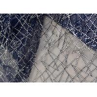 China Embroidery Royal Blue Sequin Lace Fabric For Wedding Dress Evening Gown on sale