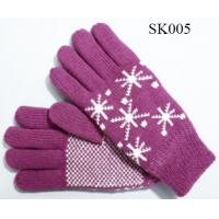 Quality girls knitted gloves acylic gloves SK005 beautiful style children gloves kids gloves wholesale