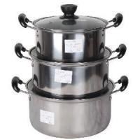 Quality 3PCS Stainless Steel Tableware with Glass Cover wholesale