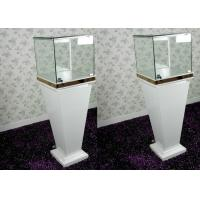 Cheap Modern Wood Glass White Exhibition Cabinets , Lockable Jewellery Display for sale